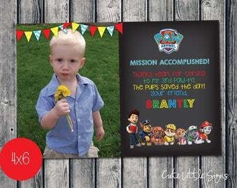 Paw Patrol Birthday Thank You Card Digital Download