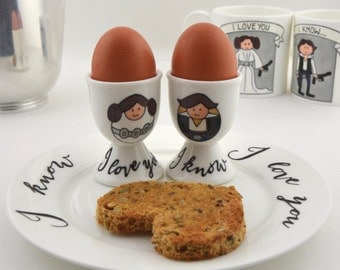 Leia and Han Solo Bone China Egg Cups and Plate (sold separately)