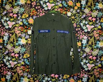Vintage 70s US Air Force Jacket Top * Vietnam * Men's Small Long Sleeve Military Shirt * Green