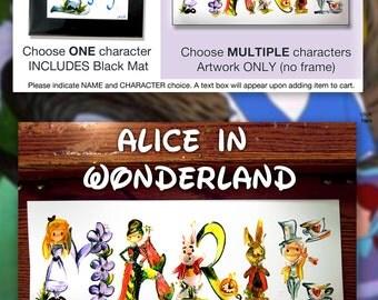 Custom Alice in Wonderland Name Painting - Disney name painting, drawing, Alice art, Alice in Wonderland drawing disney, sketch, painting