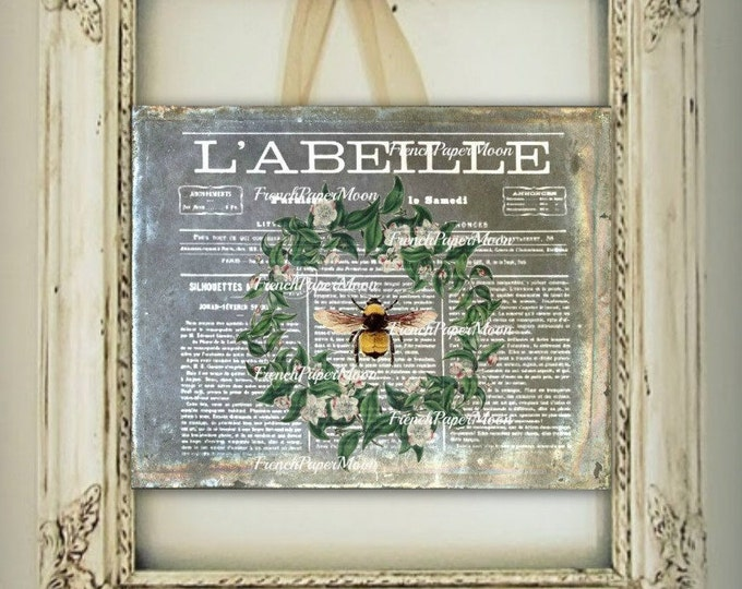 Vintage French Bee Digital Graphic, L'Abeille, French Graphics, Vintage Bee, Wreath Iron On fabric, pillow Transfer