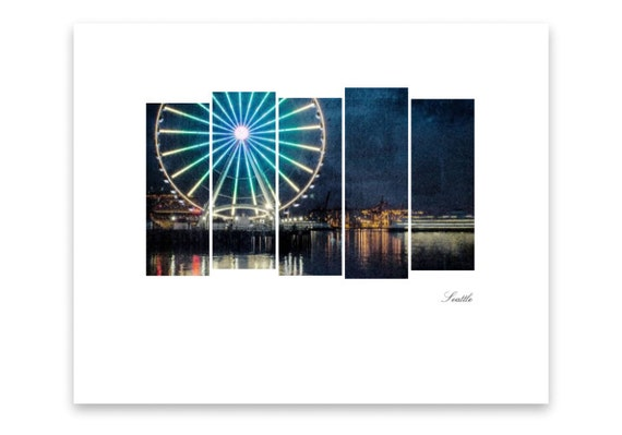 Seattle Ferris Wheel at Night. Seattle Waterfront. Gift for Seattle Lovers. Pacific Northwest. Emerald City. Cityscape. Travel Photography.