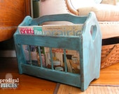 RESERVED ~ Vintage Blue Wooden Magazine Rack Crafting Holder with Heart Cut-Out ~ Rustic Farmhouse Cottage Style Decor