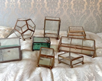 Vintage Glass Jewelry Trinket Boxes Lot of 8