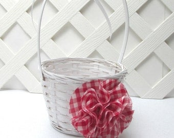 Red Gingham Flower Girl Basket, Casual Country Wedding, Rustic Wedding, Western Wedding, Backyard Picnic Wedding, Matching Items Available