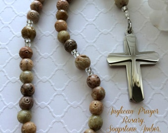 Protestant Prayer Beads, Anglican Rosary, Gemstone Soapstone Amber Beads, Christian Prayer Beads, Gemstone Prayer Beads, Man's Rosary