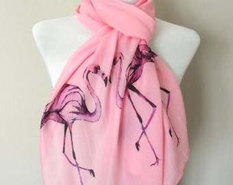 Flamingo Scarf. Pink scarf with Flamingo print. Beach. Boho scarves.