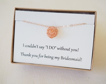 Sets of... Rose Gold Knot Necklaces, Bridesmaid Necklaces, Rose Gold Necklace, Bridesmaid Gift Set, Gift Set