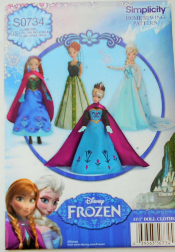 Simplicity 0734 Doll Clothes Disney Sewing Pattern Frozen