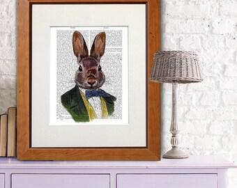 Bunny nursery décor - Green Jacket - bunny rabbit Bunny wall art Rabbit poster bunny print bunny art print bunny décor bunny illustration