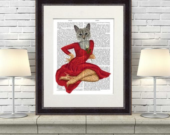 Grey cat art print - red dress white rose - anthro art anthropomorphic wall art cat print cat illustration funny cat poster cat décor
