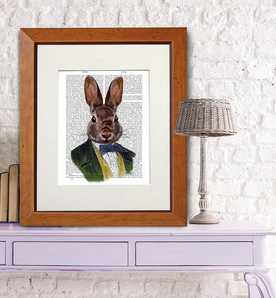 Art Wall Jr Green Jacket : Bunny nursery d?cor green jacket rabbit wall