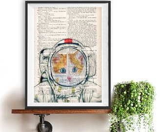 Astronaut Cat Print Poster, Space Cat, Cat space suit ,DICTIONARY Print, Book Pages, Home Decor, DORM decor, Wall Art decor,funny cat print