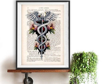 Caduceus Symbol, Medical Art, Medicine, Rod of Asclepius Poster, Doctor Office Art, Doctor Symbol Art Print, Dr. Symbol