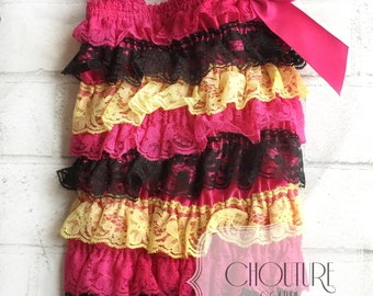 Adorable Hot Pink Black and Yellow Ruffle Romper-- Family Pictures, Smash Cake, Photography Prop