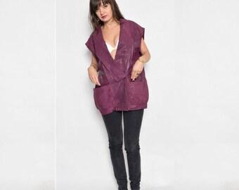 Vintage 80's Real Leather Long Oversized Vest