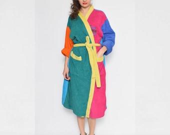 Vintage 90's Color Blockin Terrycloth Robe