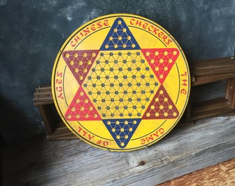 Vintage Chinese Checker Board: Tin Litho Chinese Checker Board Game, Round Yellow Tin Chinese Checker Board, Rustic Industrial Wall Art