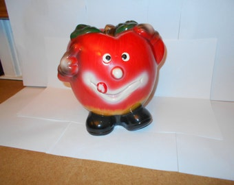 1950s Anthromorphic Apple Face Ceramic Bank - Large Size - Rare