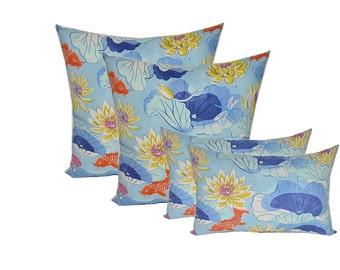 "SET OF 4 - Indoor / Outdoor 20"" Square & Rectangle / Lumbar Pillows - Lotus Lake Cobalt Koi Fish - Blue Orange Yellow"