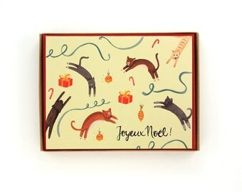 Box of 8 Jumping Cats Holiday Cards - Joyeux Noel! - French Christmas Card - handpainted greeting card / HLY-CATS-French-BOX
