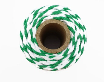 Green Chunky Baker's Twine  20m - Thick Luxury Twine in Emerald Green and White - 4mm Diameter