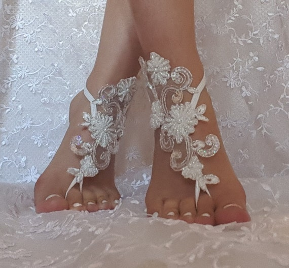 Free shipping flashy beach shoes Unique design bridal sandal beads sequins barefoot sandals, bangle, wedding anklet, anklet, bridal, wedding