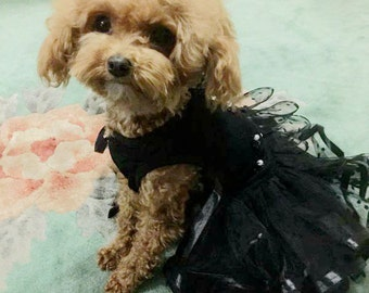 Custom Made Black Dog wedding dress made of tulle skirt   Polka Dot and small flowers  details