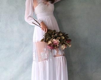 Long Sleeve Chiffon Wedding Dress with Sheer Skirt and Sheer Bodice. Simply Elegant Beach/ Woodland Style- AM 189231899