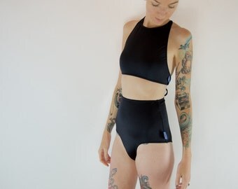 Black halter / high waist bikini set