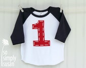 baseball birthday, 1st birthday, red white raglan, red white blue, navy blue raglan, big number shirt, number 1 t shirt,boy girl birthday