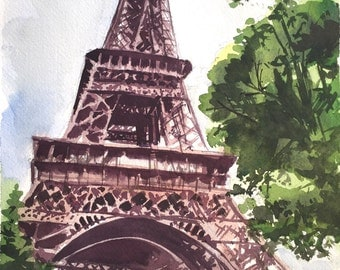Eiffel Tower, Paris Watercolor Painting, Watercolors paintings original, France Watercolor Painting, French, Seven wonders of the world