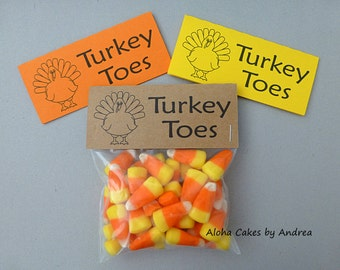 Turkey Toes Bag Topper, Thanksgiving Classroom Treat Bag, Party Favors, Turkey Gifts, Set of 10