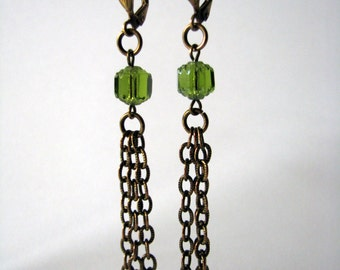 Art nouveau brass earrings green glass