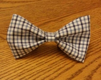 Blue plaid dog bow tie