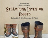 Pixie Faire KeLibu Steampunk Inventor Boots Doll Clothes Pattern for 18 inch American Girl Dolls - PDF