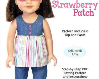 Pixie Faire Doll Tag Clothing Strawberry Patch Doll Clothes Pattern for Journey Girls Dolls - PDF