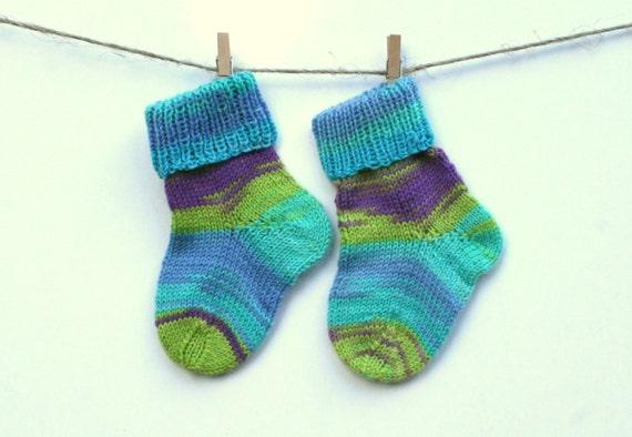 Calcetines de bebe calcetines de lana de beb de punto de - Como hacer talon de calcetines de lana ...