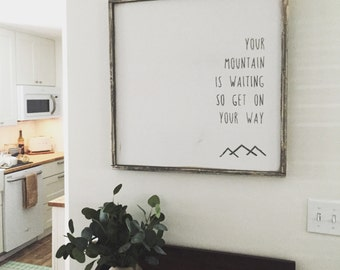 Mountain Framed Wood Sign