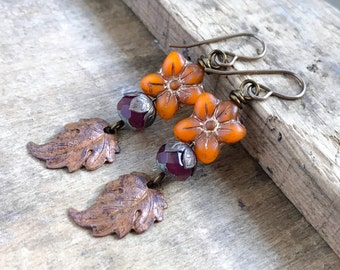Nature Inspired Copper Leaf Earrings. Autumn Leaf Earrings. Fall Leaves & Flowers. Rustic Czech Glass Earrings. Fall Leaf Jewelry