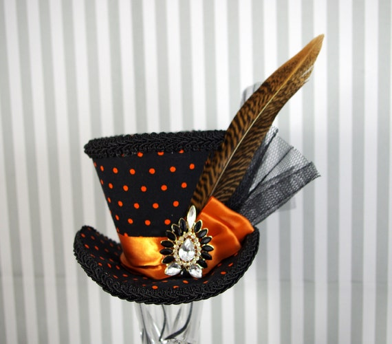 Orange and Black Polka Dot Flared Medium Mini Top Hat Fascinator, Alice in Wonderland, Mad Hatter Tea Party, Derby Hat, Halloween Hat