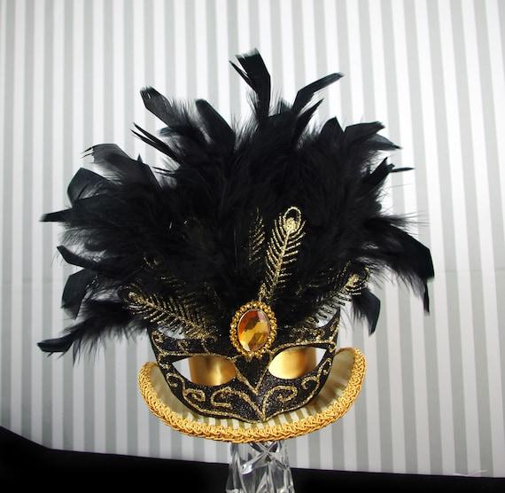 Mardi Gras Carnival Gold and Black Mask Large Mini Top Hat Fascinator, Alice in Wonderland, Mad Hatter Tea Party, Derby Hat