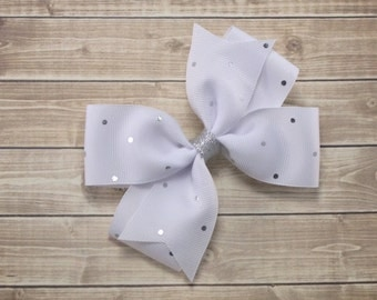 White and Silver Hair Bow, White Hair Bow, White Bow, Fancy Bow, Baptism Bow Headband, Boutique Hair Bow, White Flower Girl Headband