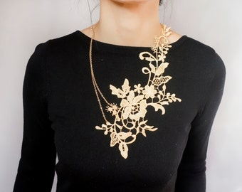 New statement necklace // cream gold floral lace bib // hand dyed // oversized necklace //gold lace collar // gift for her