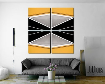 """Mustard yellow geometric painting. Abstract canvas art. Extra large minimalist painting. Over the couch piece 50x50"""""""