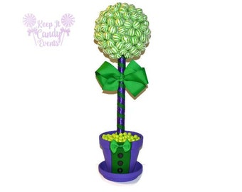 Purple and Green Tuxedo Lollipop Topiary, Villain Theme Topiary, Villain Centerpiece, Purple and Green Centerpiece, Birthday Centerpiece