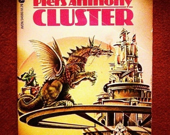 Cluster by Piers Anthony 1977, Avon Books Vintage Science Fiction Adventure Paperback Book 1st Print