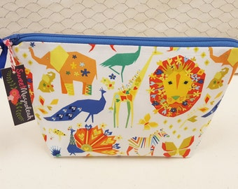 Cosmetic bag, Large zipper pouch, Makeup bag, Animals