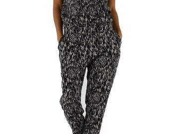 White and Black Graphic Printed Viscose Jumpsuit.