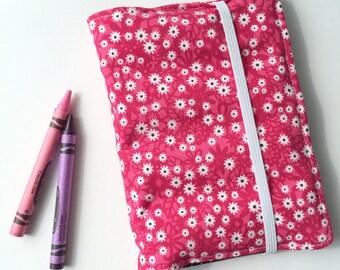 Kids Crayon Wallet & Scribble Pad   Pink Floral Print   Kids Travel Activity